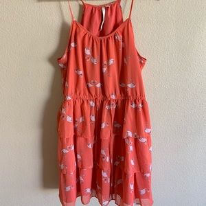 Lauren Conrad coral flamingo dress